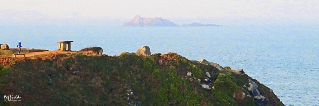"""La pointe du Bec de Vir. A l'horizon le rocher """"La mauve"""""""